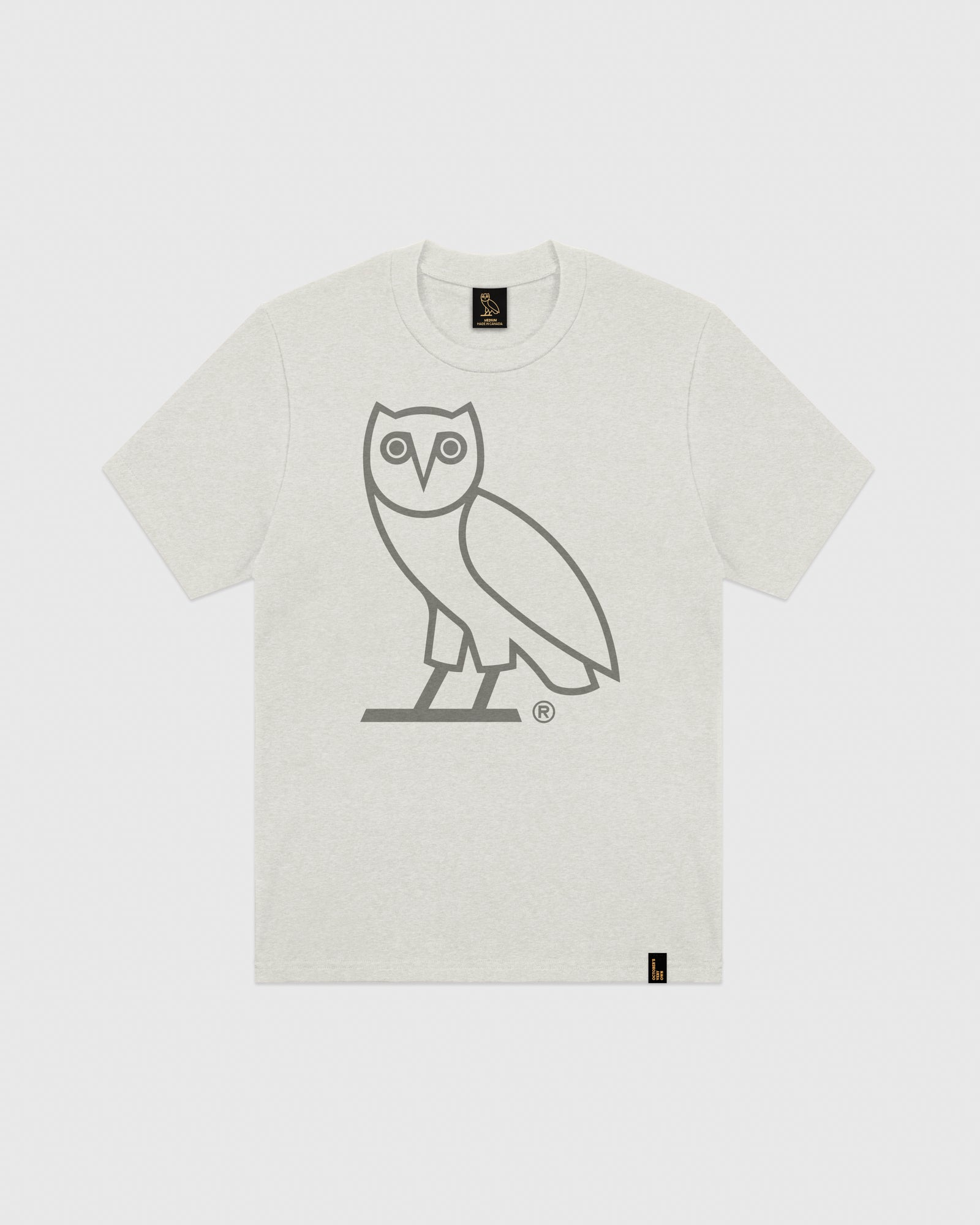DISCHARGE OWL T-SHIRT - HEATHER LIGHT GREY IMAGE #1