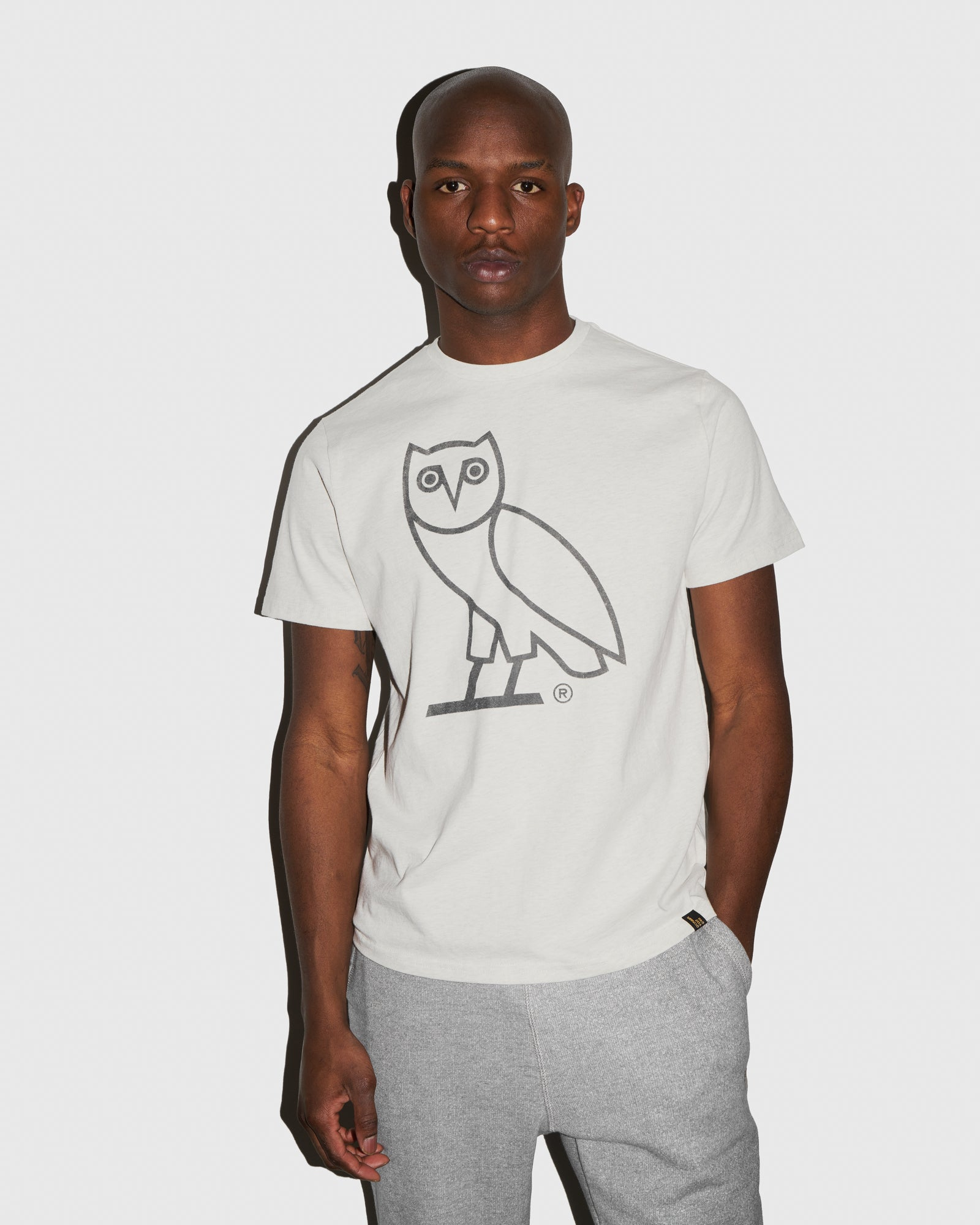 DISCHARGE OWL T-SHIRT - HEATHER LIGHT GREY IMAGE #2