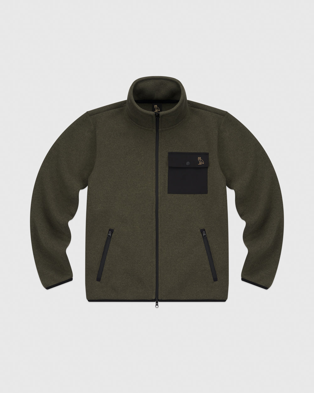 OVO POLARTEC® SWEATER FLEECE TRACK JACKET - HEATHER STONE GREEN