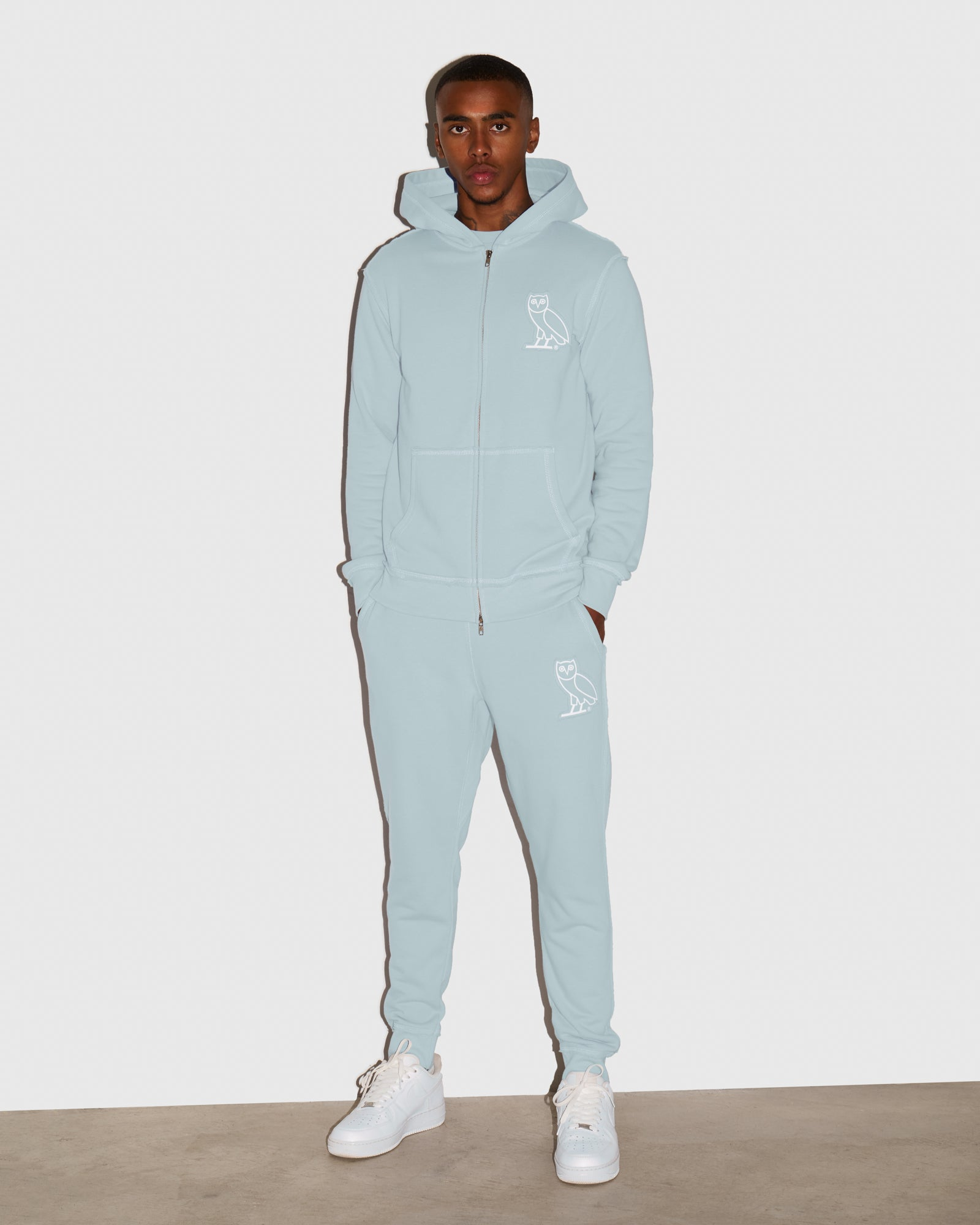 RAW EDGE FRENCH TERRY SWEATPANT - BABY BLUE IMAGE #2