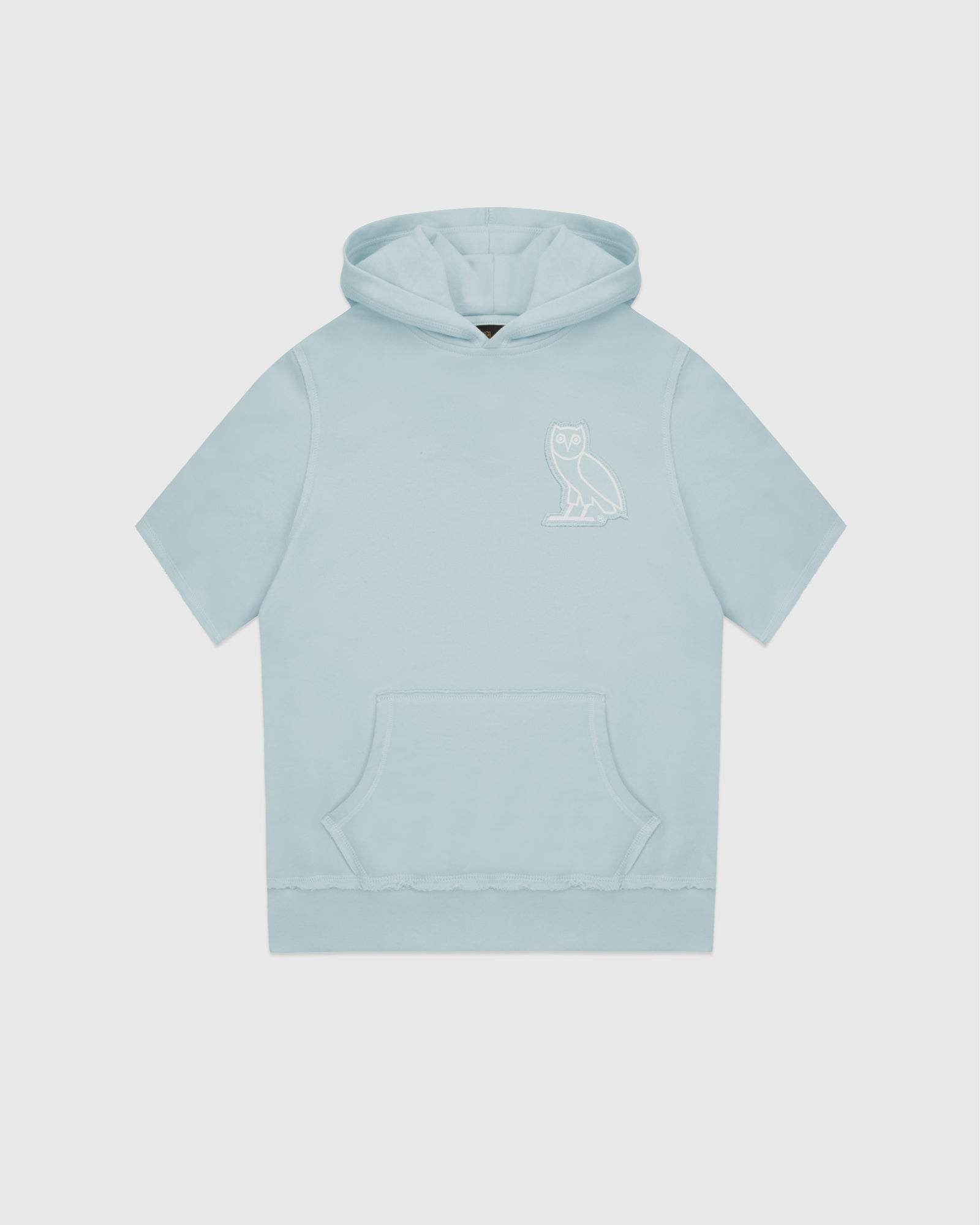 RAW EDGE FRENCH TERRY SHORT SLEEVE HOODIE - BABY BLUE IMAGE #1