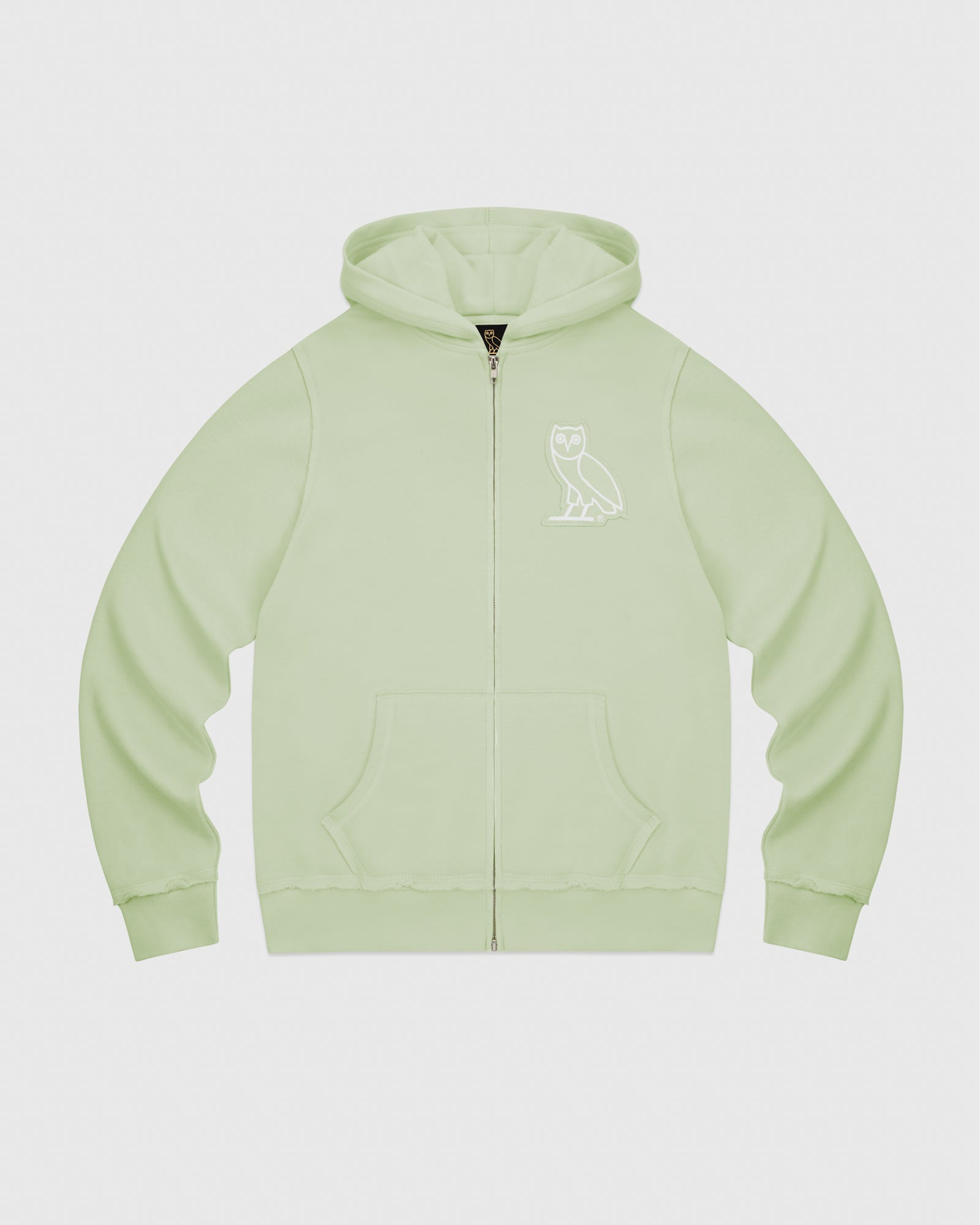 RAW EDGE FRENCH TERRY ZIP HOODIE - MINT IMAGE #1