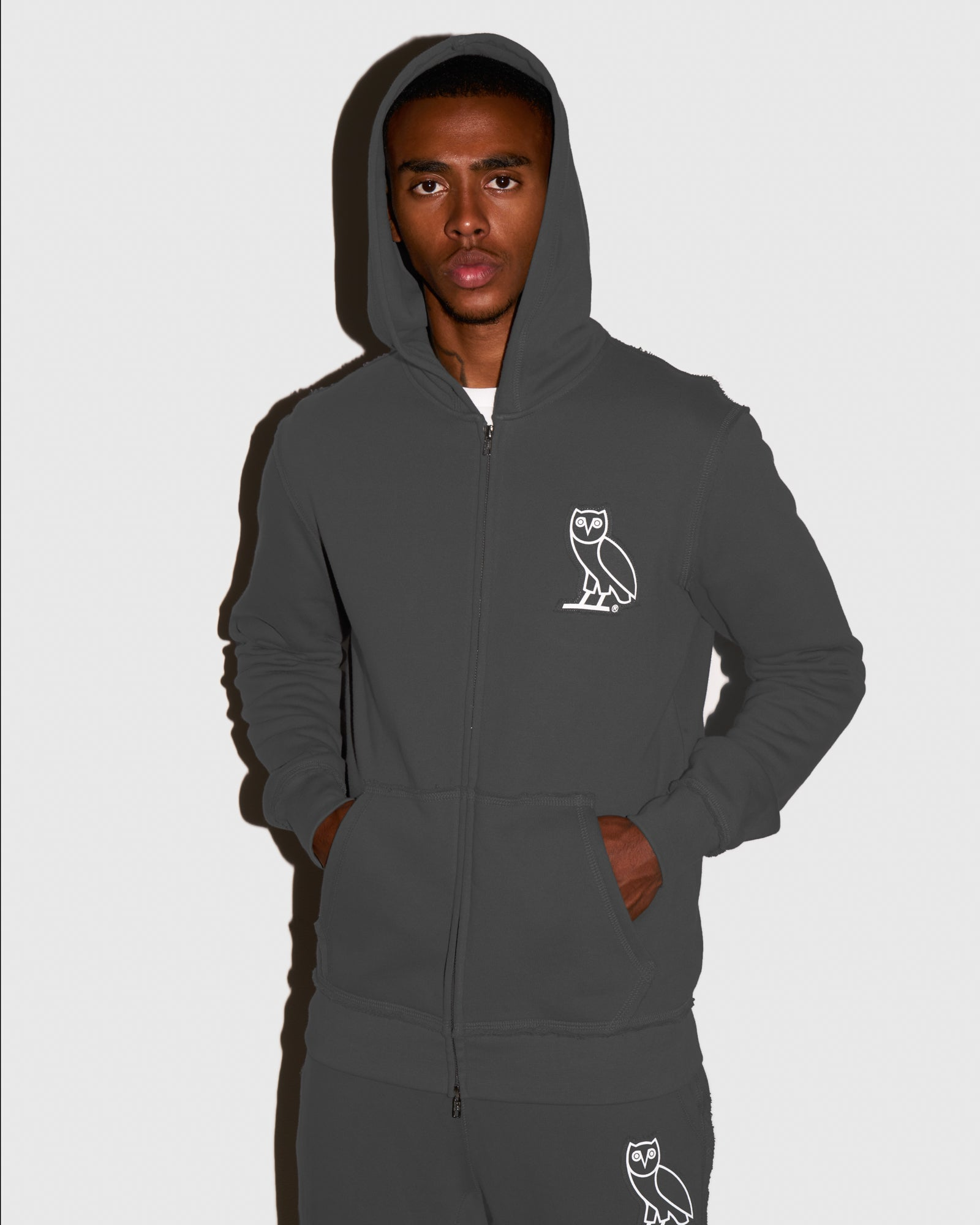 RAW EDGE FRENCH TERRY ZIP HOODIE - GREY IMAGE #2