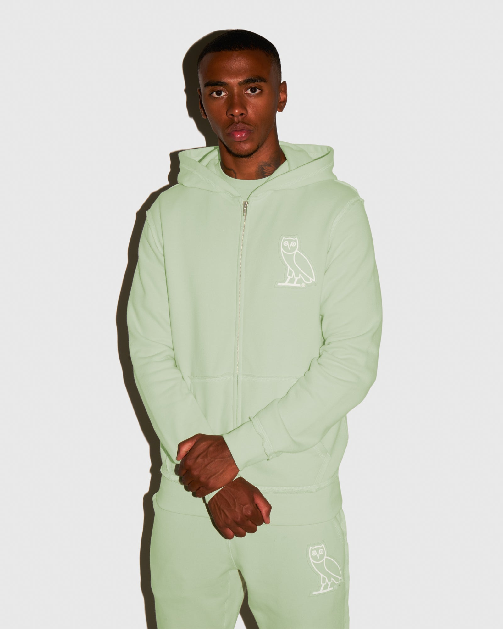RAW EDGE FRENCH TERRY ZIP HOODIE - MINT IMAGE #2