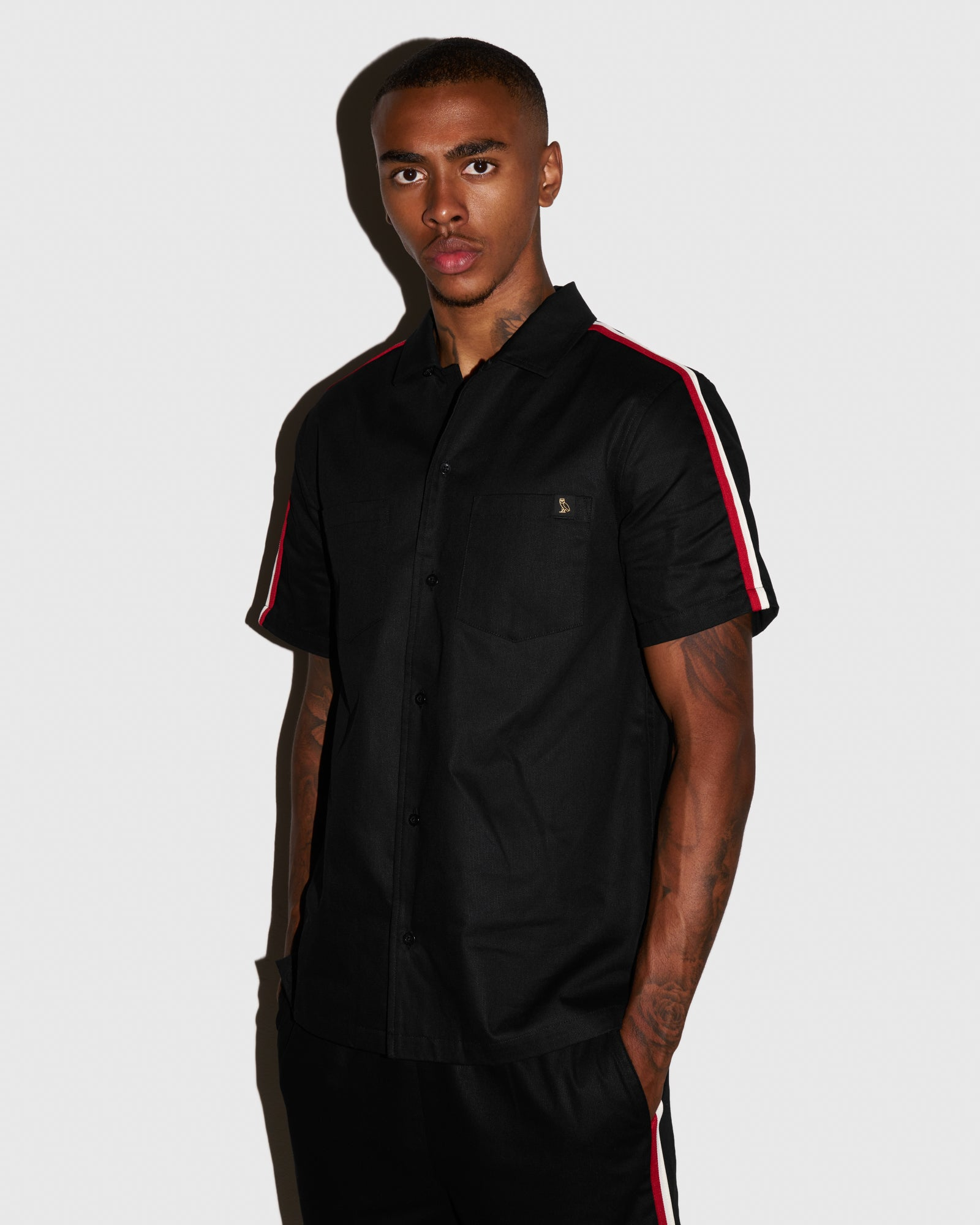 OVO BEDFORD TWILL SAFARI SHIRT - BLACK