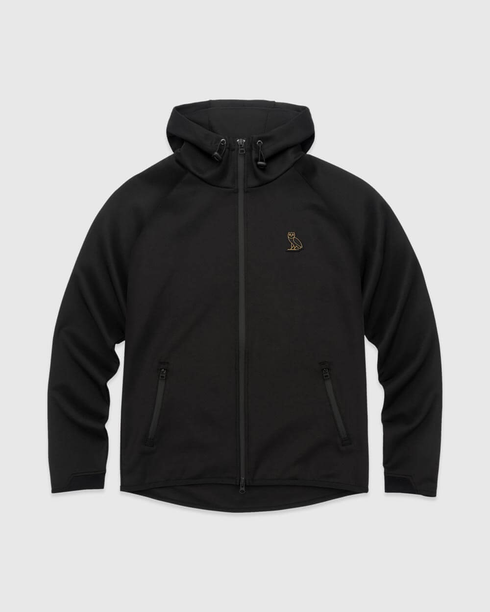 OVO ESSENTIALS INTERLOCK ZIP HOODIE - BLACK IMAGE #1