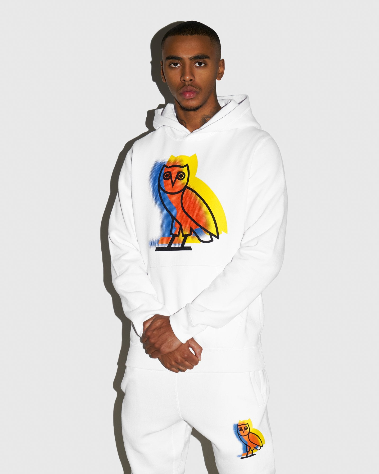 STENCIL OWL HOODIE - WHITE IMAGE #2
