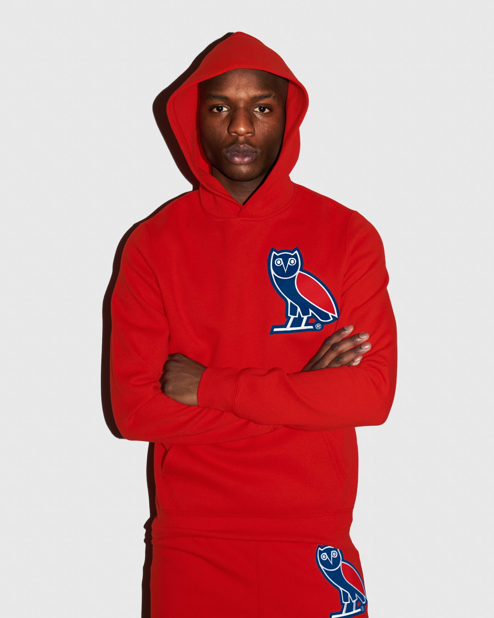 OVO FRANCHISE DOUBLE KNIT HOODIE - RED IMAGE #2