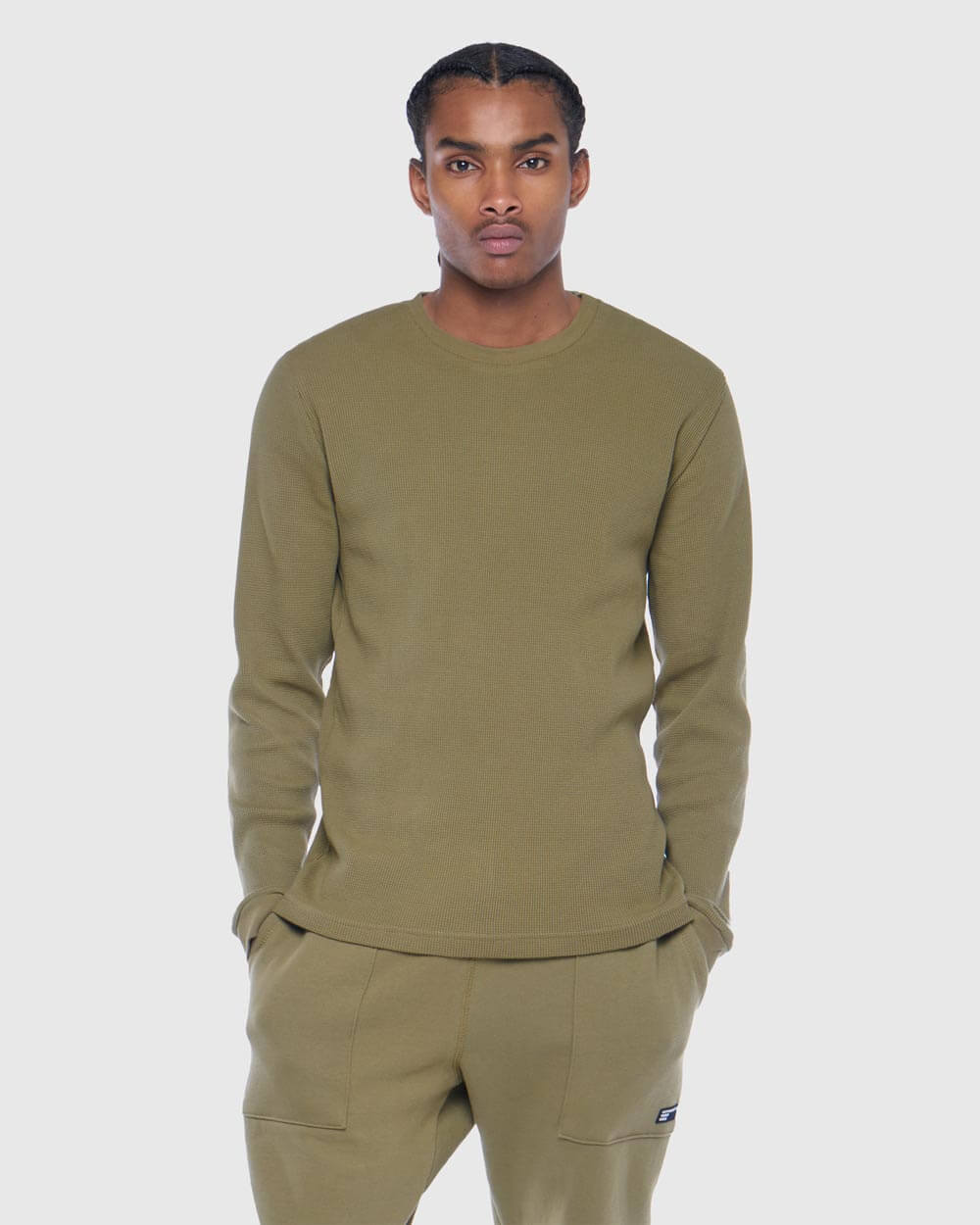 OVO THERMAL KNIT LONGSLEEVE - ALPHA GREEN IMAGE #3