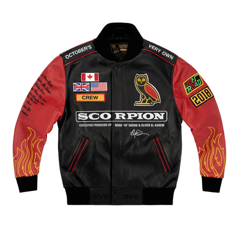 OVO x SCORPION LEATHER TOUR JACKET - BLACK & RED