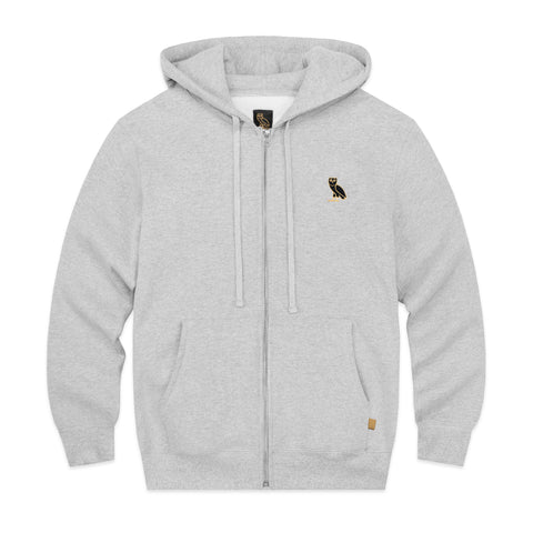 OWL LOGO EMBROIDERED ZIP HOODY - GREY