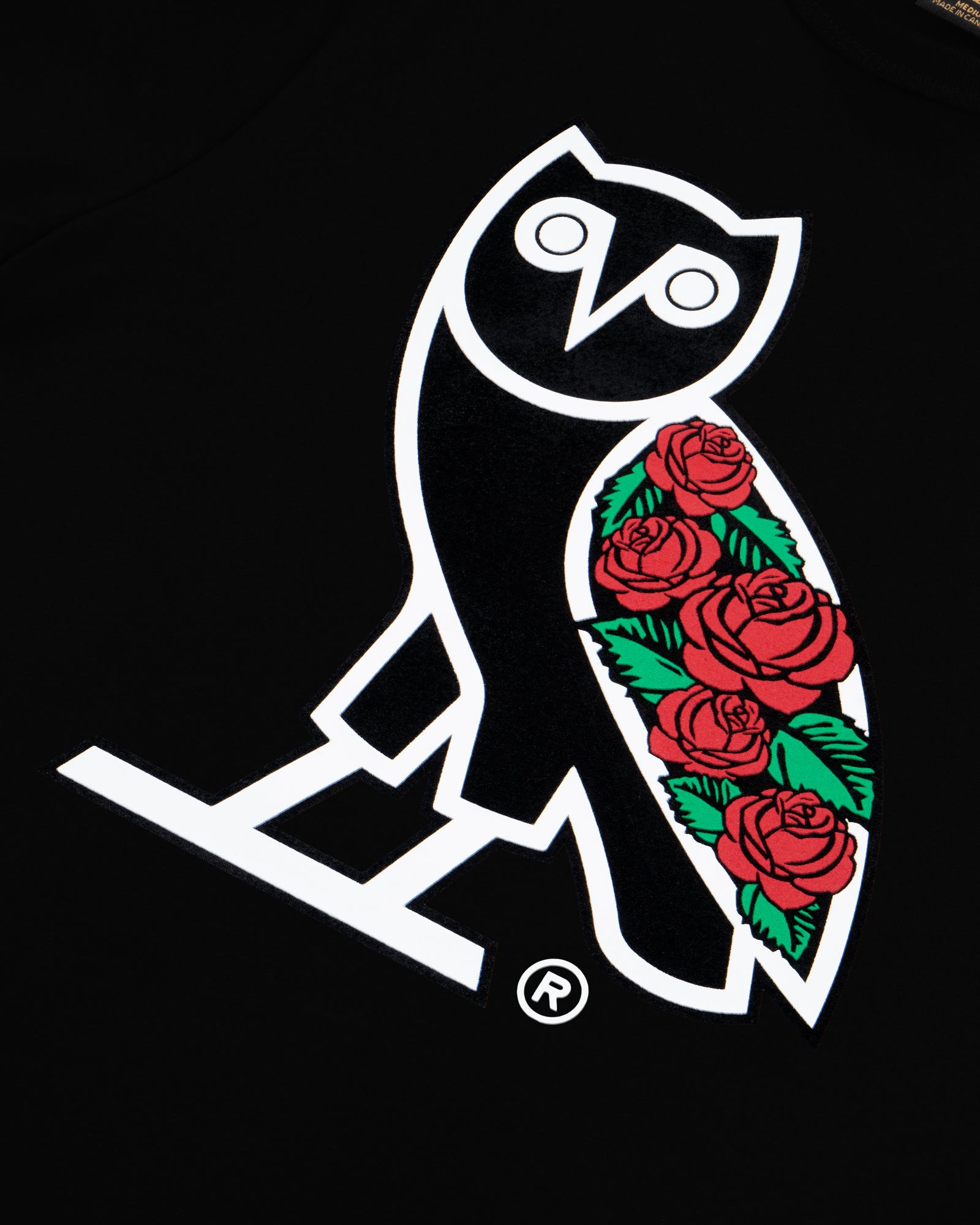 SANDRA'S ROSE OG OWL T-SHIRT - BLACK