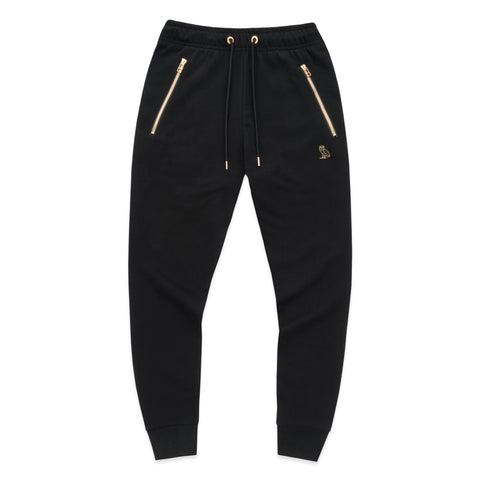 WOMEN'S OWL PATCH HIGH WAISTED SWEATPANT - BLACK