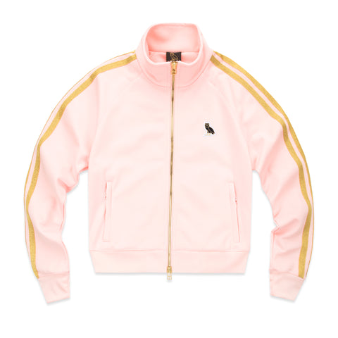WOMEN'S OWL PATCH TRACK JACKET - PINK