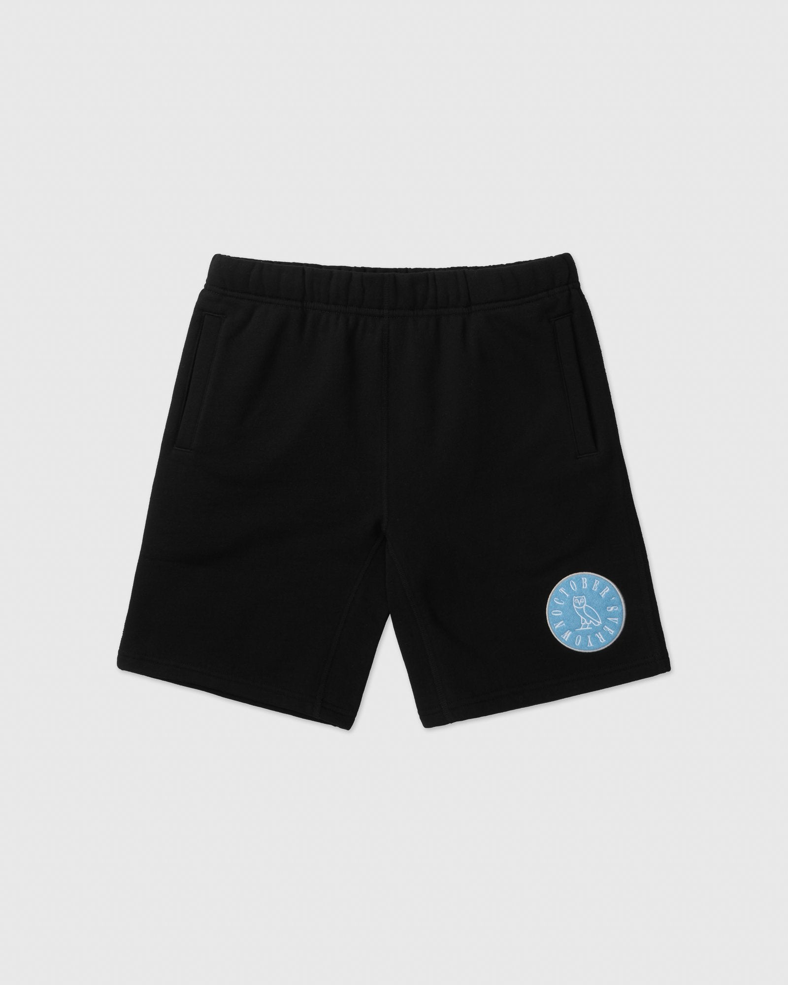 CIRCLE WORDMARK PATCH SWEAT SHORT - BLACK IMAGE #1