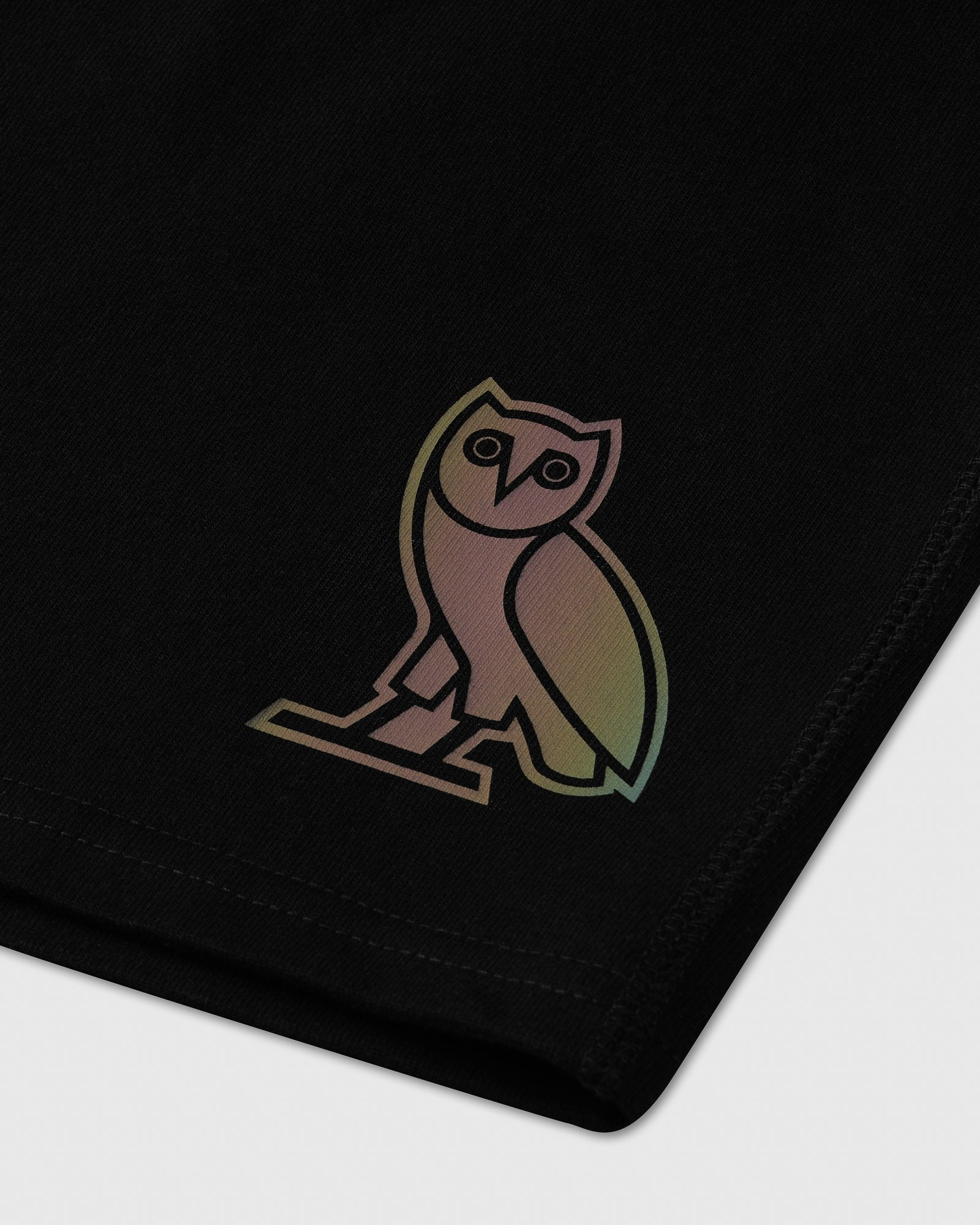 HOLOGRAM OWL SWEAT SHORT - BLACK IMAGE #2