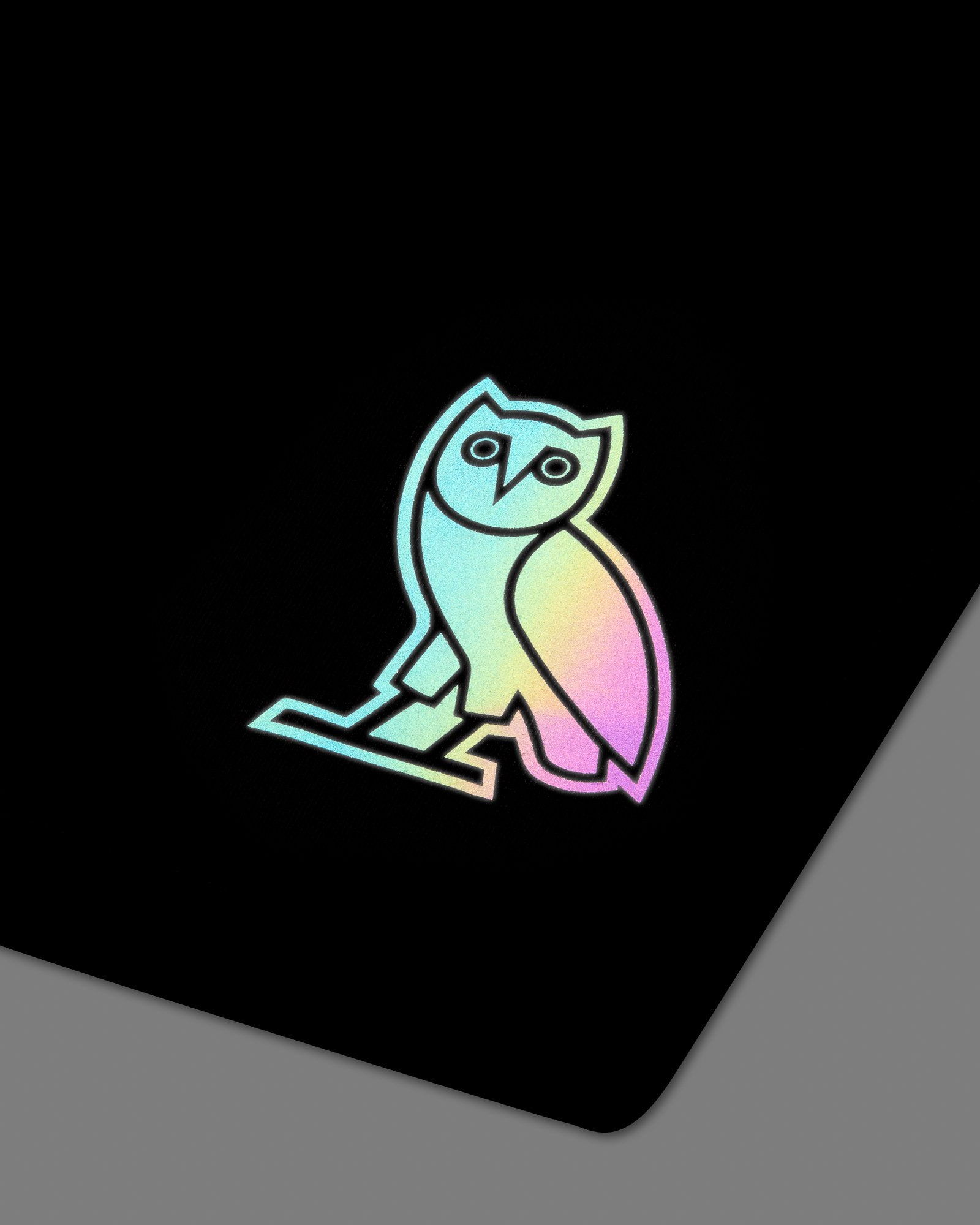 HOLOGRAM OWL SWEAT SHORT - BLACK IMAGE #3