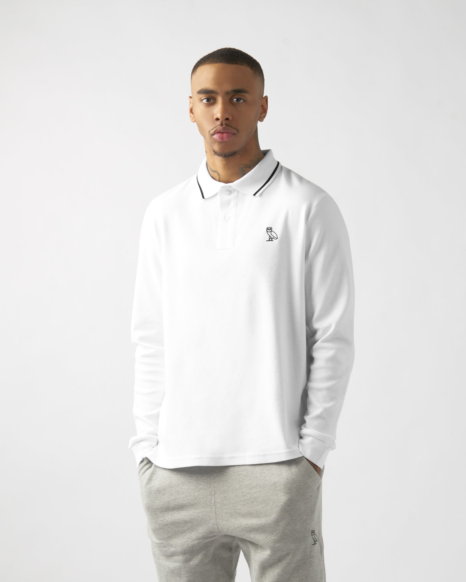 INTERLOCK LONGSLEEVE POLO - WHITE IMAGE #2