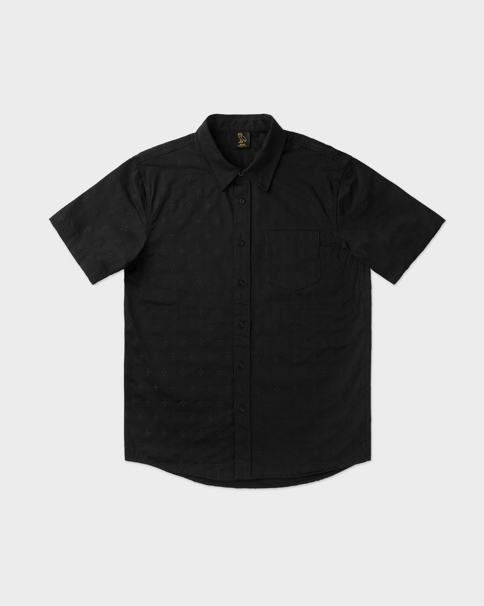 MONOGRAM EMBROIDERED BUTTON DOWN SHIRT - BLACK IMAGE #1