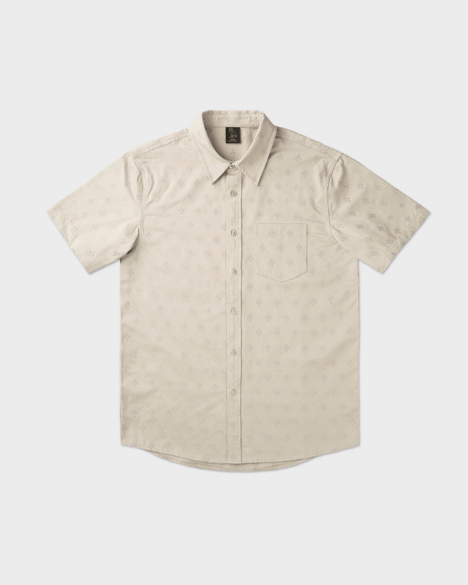 MONOGRAM EMBROIDERED BUTTON DOWN SHIRT - SAND IMAGE #1