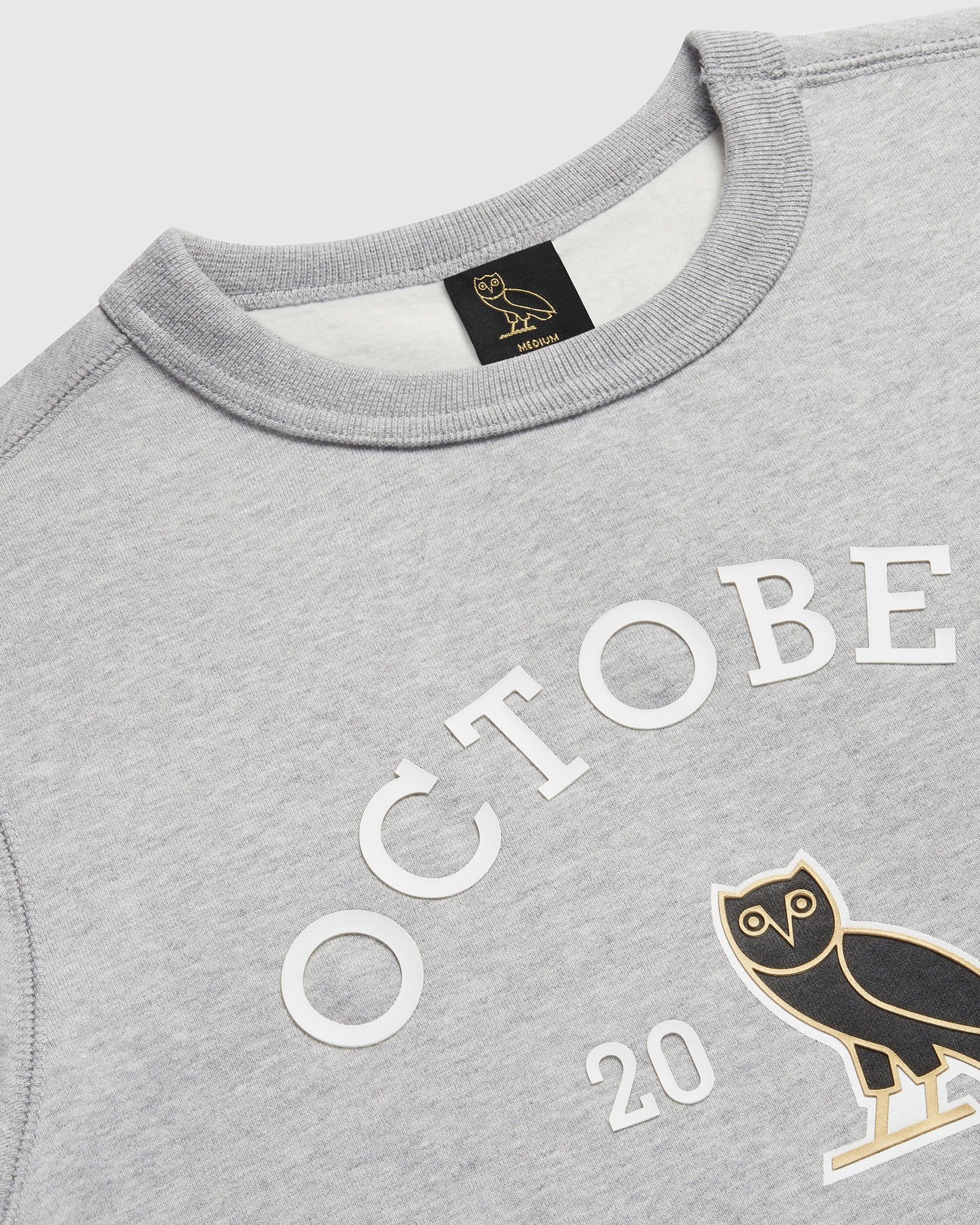 OVO COLLEGIATE CREWNECK - HEATHER GREY IMAGE #3