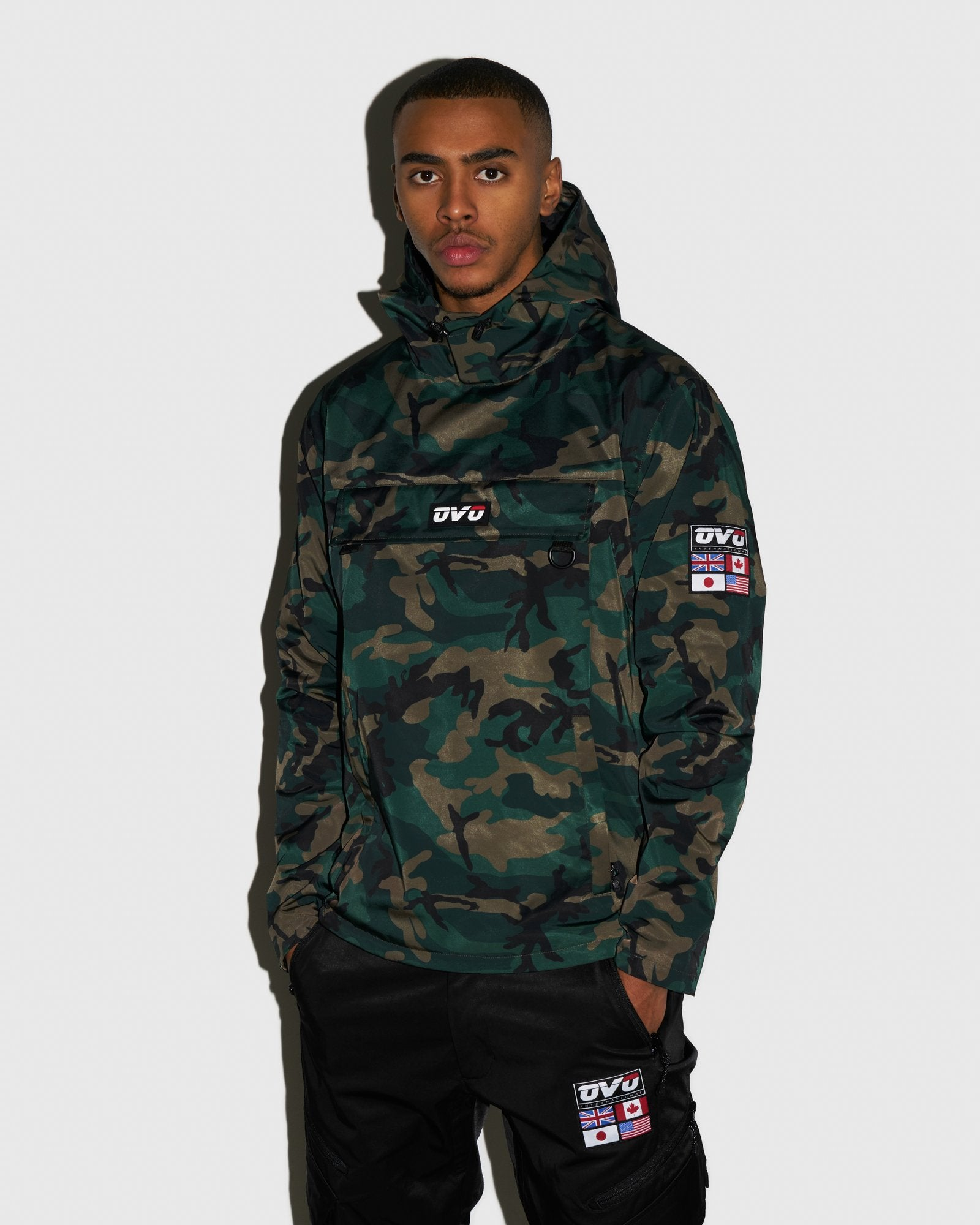 OVO INTERNATIONAL ANORAK HOODIE - CAMO GREEN IMAGE #2