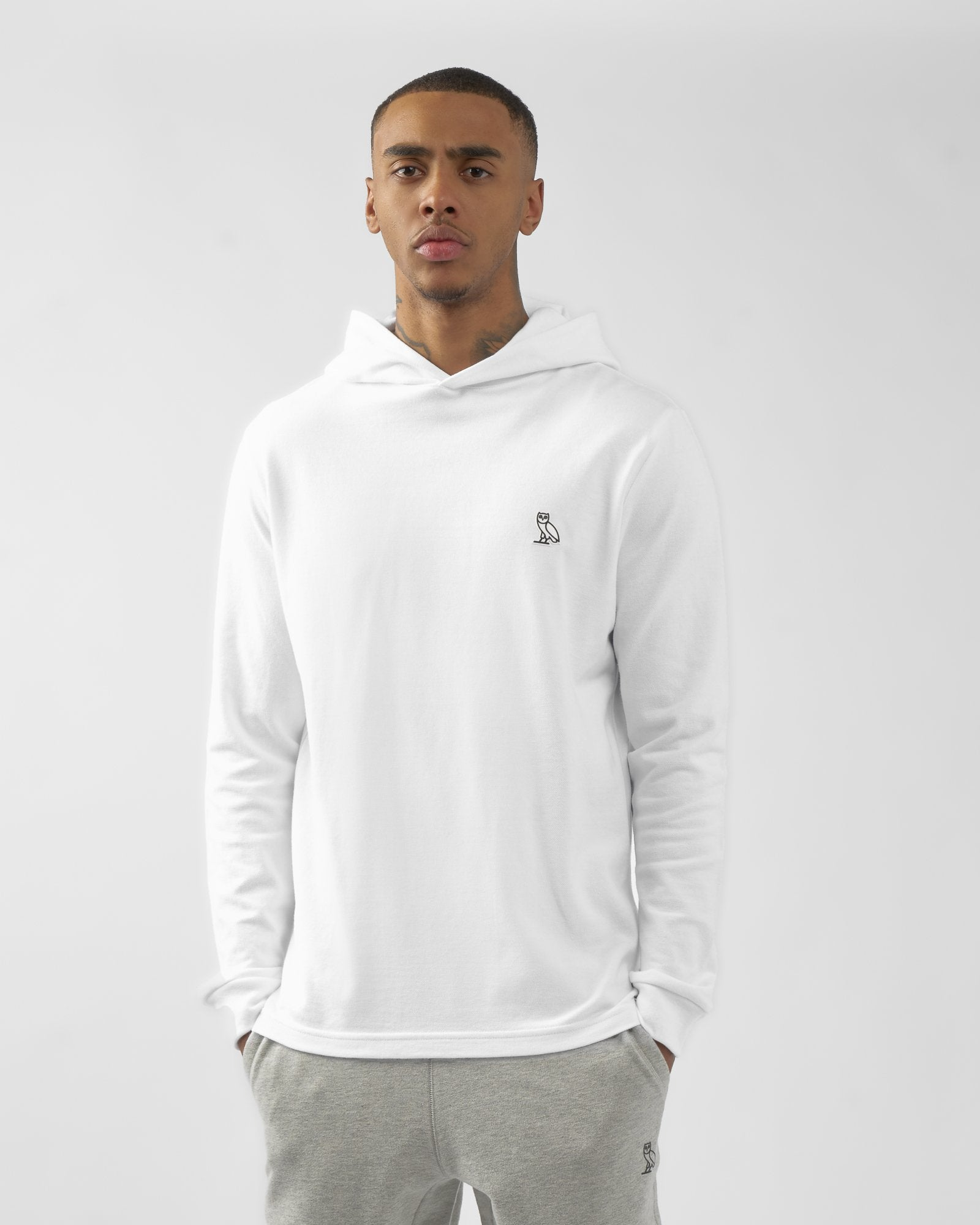 PIQUE HOODIE - WHITE IMAGE #3