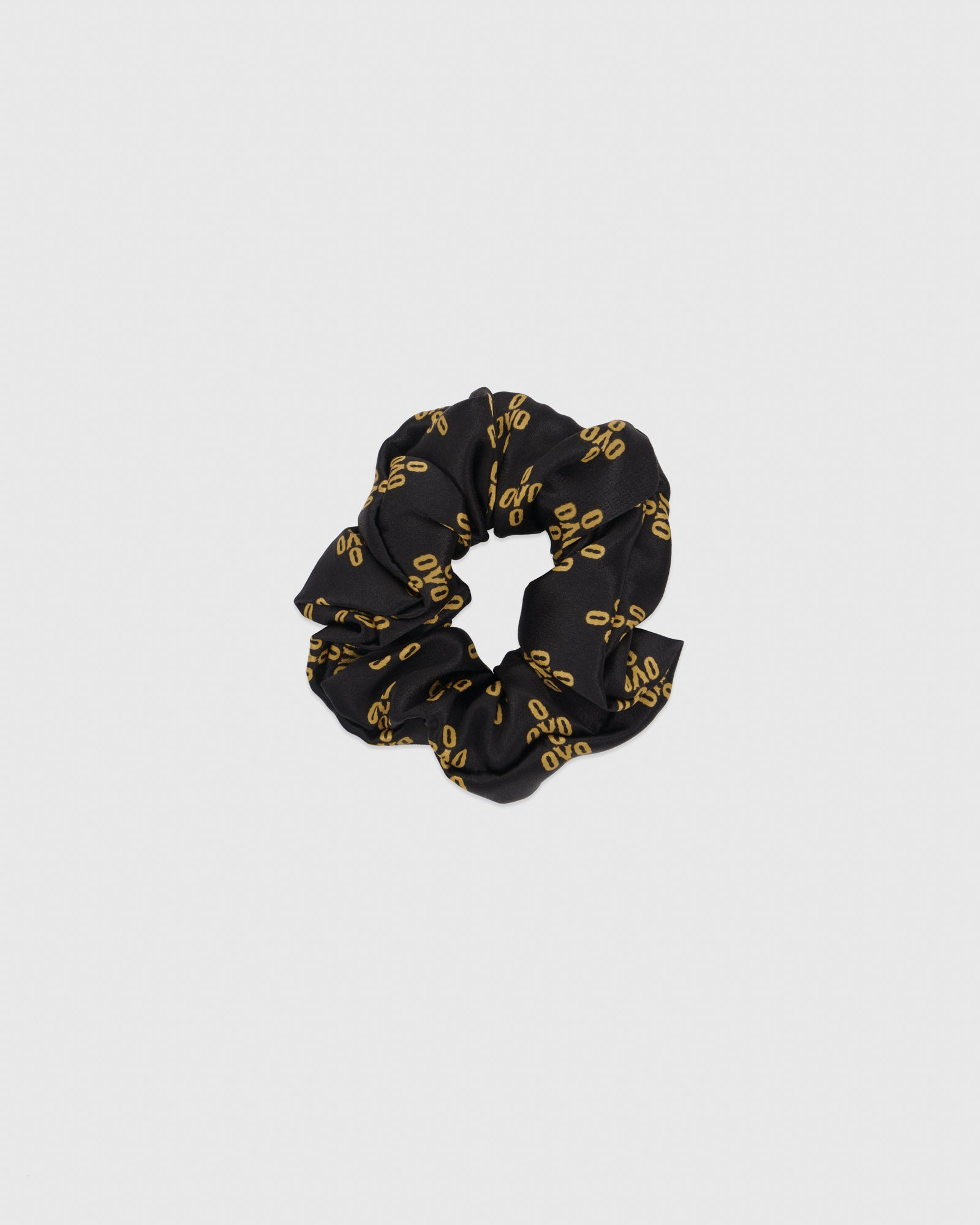 WOMEN'S OVO MONOGRAM SILK SCRUNCHIE - BLACK IMAGE #1