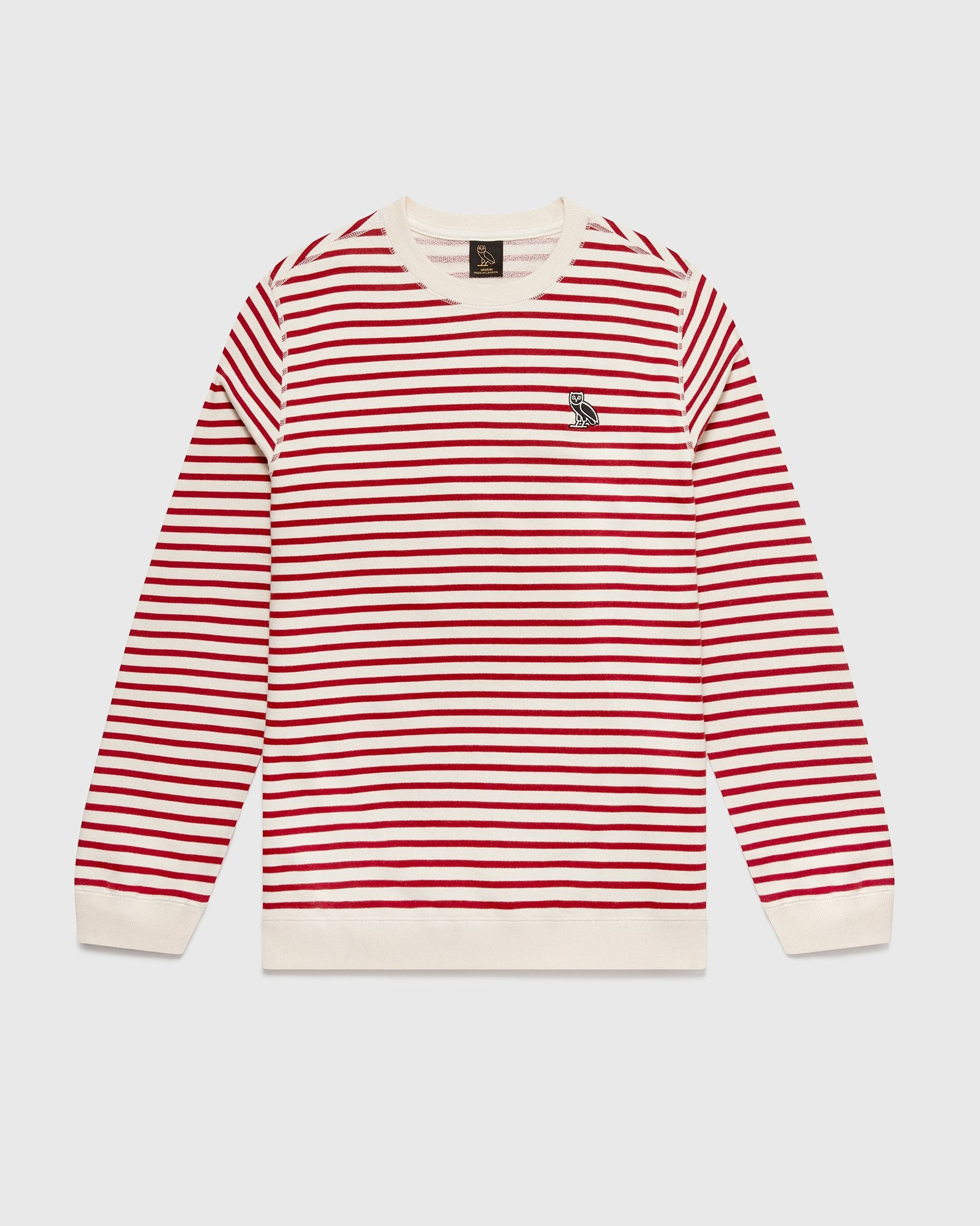 NAUTICAL STRIPE CREWNECK - RED/CREAM IMAGE #1