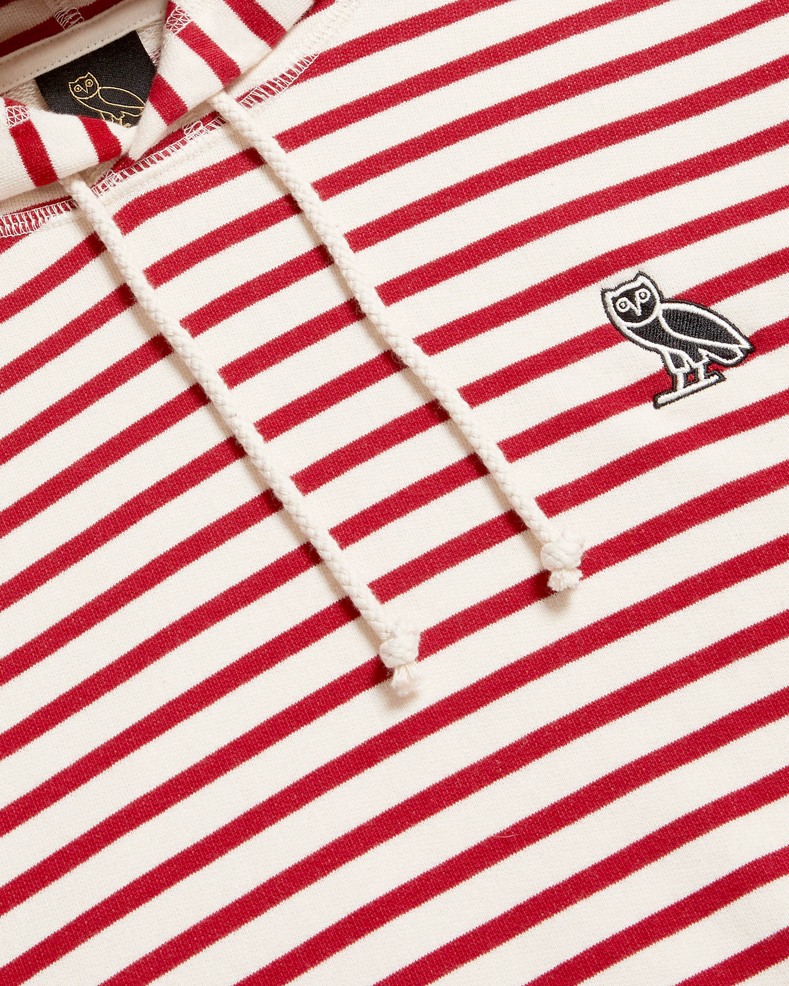 NAUTICAL STRIPE HOODIE - RED/CREAM IMAGE #4