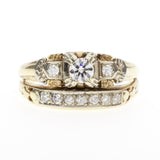 14K Retro Diamond Wedding Set
