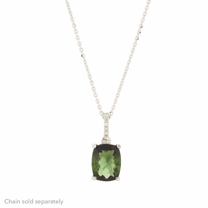 14K  Green Tourmaline Diamond Pendant