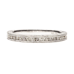 14K Engraved Diamond Band