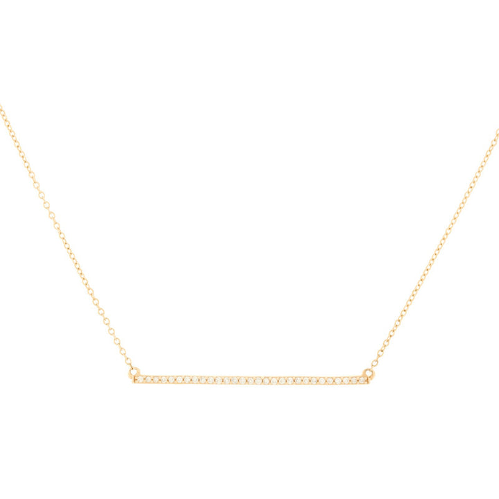 14K Rose Gold Diamond Bar Necklace
