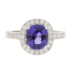 14K Halo Tanzanite Diamond Ring