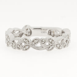 14K Floral Diamond Band