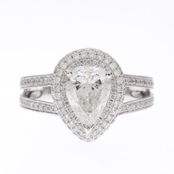 14K Halo Pave Diamond Ring