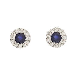 14K Blue Sapphire Diamond Stud Earrings