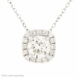 14K Halo Diamond Pendant
