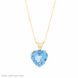 14K Blue Topaz Diamond Pendant
