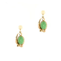 14K 1940's Retro Jade Dangle Earrings