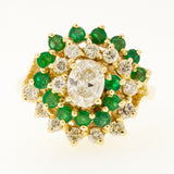 14K Emerald Diamond Princess Ring