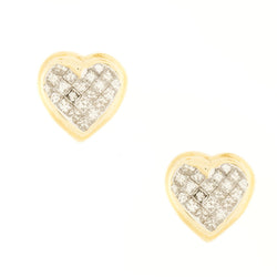 14K Heart Shaped Diamond Stud Earrings