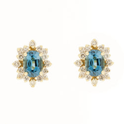 14K Blue Topaz Diamond Earrings