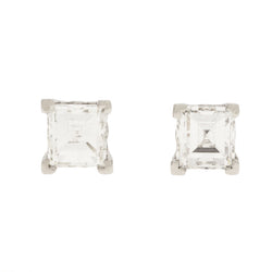 14K Diamond Step Cut Stud Earrings