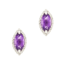 14K Amethyst and Diamond Stud Earrings