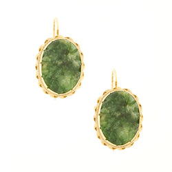 14K Carved Jade Dangle Earrings