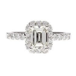 14K  Emerald Cut Halo Diamond Ring