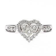 14K Heart Diamond Ring