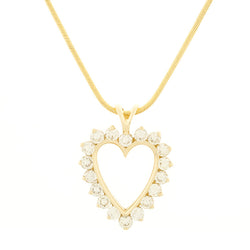 14K Heart Diamond Pendant